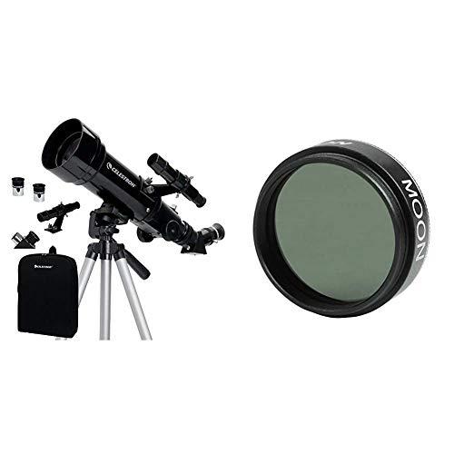 Celestron Travel Scope 70 - Telescopio Portable con ampliación de 20x, Longitud Focal 40 cm, Color Negro, Abertura de 70 mm + 94119-A - Filtro de Efectos para Objetivos de cámara, Negro
