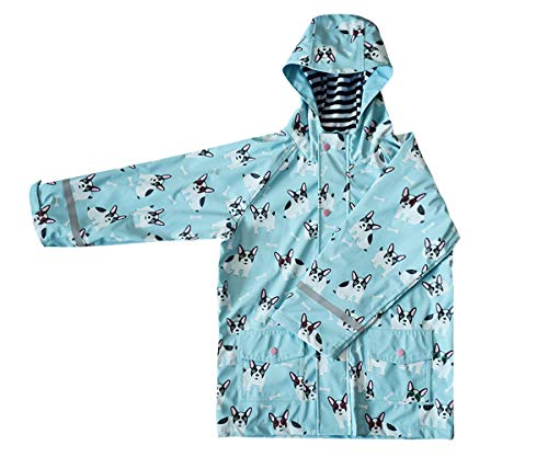 FWG Kids Children Rain Poncho, Reusable Raincoat with Hoods and Sleeves, Durable, Lightweight and Perfect for Outdoor Activities (Bulldog, 2T)