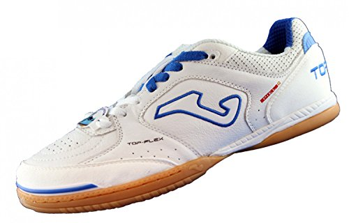 Joma Top Flex - Scarpe da Calcetto Indoor Unisex – Adulto, Bianco (White-Black-Orange), 45 EU