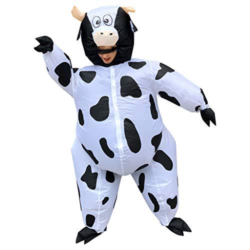 Aufblasbare Kostüm für Erwachsene Aufblasbarer Costume Kreative Party Karneval Lustige Kleidung Tier Sumo Cosplay Lustig Aufblasbares Aufblasen Kleid Fasching Luftschiff Aufblasbar Anzug (Kuh)
