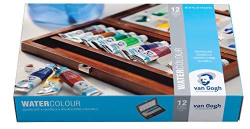 Van Gogh Watercolor Paint Set, Wood Box, 12-Tube + 3 Accessories