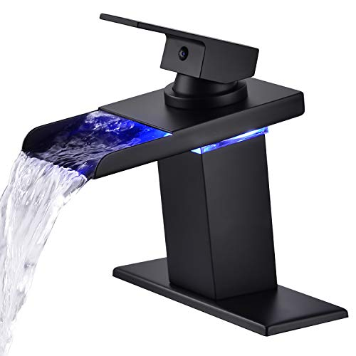 LED Light Bathroom Sink Faucet, Mekoly 3 Colors Changing Waterfall Spout, Hot and Cold Water Mixer, Single Handle Single Hole Deck Mounted Bathroom Tap Faucet(Matte Black)