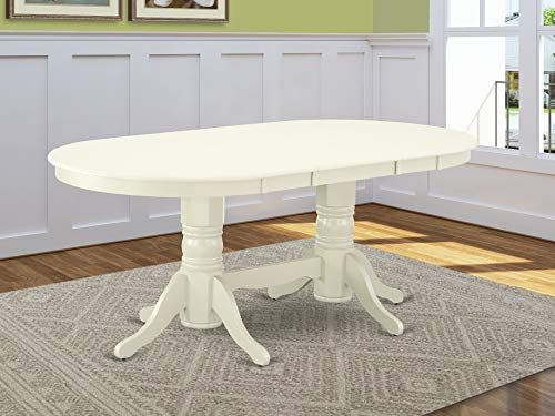 VAT-LWH-TP Vancouver Oval Double Pedestal dining room Table with 17' Butterfly Leaf in Linen White Finish