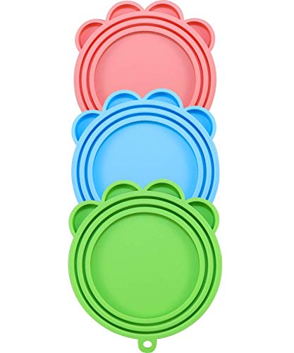 Vcalabashor Deckel für Hunde/Katzennahrungsdosen mit Deckel, BPA-frei, Silikon, 3 Stück mit 1 Schrubber und 1 Löffel