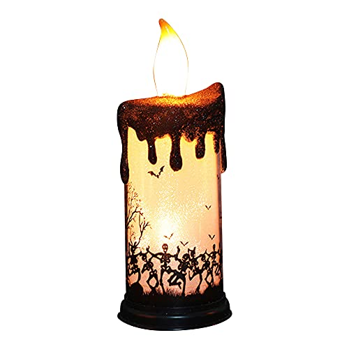 KIHL Velas parpadeantes sin Llama de Halloween, lámpara LED de luz, candelabro, Adorno de Mesa, decoración de iluminación para Fiestas en el hogar, Esqueleto de Baile