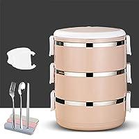 ステンレス鋼絶縁弁当,漏れ スプーン付き積み重ね可能なお弁当箱,大人と子供のためのフォークランチコンテナ-j 20x15cm(8x6inch)