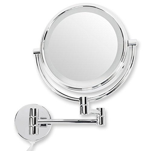 casa pura® Kosmetikspiegel für die Wandmontage | wahlweise mit oder ohne LED Beleuchtung | 3 hohe Vergrößerungsgrade wählbar (10-Fach - mit LED)