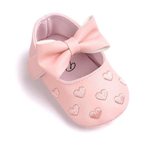 Zapatos de bebé,Auxma Niña Bowknot Zapatos de Cuero Zapatillas Antideslizante Suave niño único para 0-18 Meses (0~6M, Rosa)