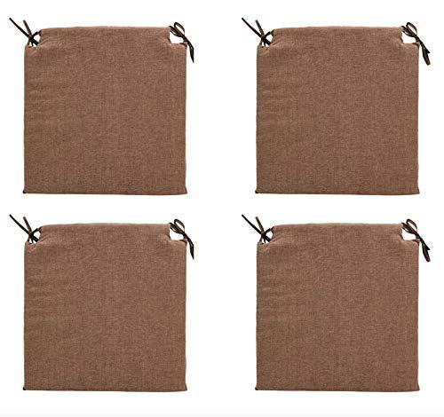 TIENDA EURASIA® Pack 4 Cojines para Sillas - Estampados Lisos con 2 Cintas de Sujeción - Ideal para Interiores y Exteriores - 40 x 40 x 3 cm (Chocolate)