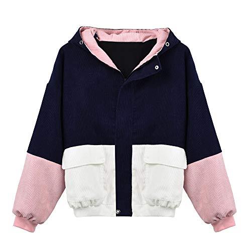 Coats Damen,Kimodo Mode Frauen Langarm Cord Patchwork Oversize Jacke Windbreaker Mantel Frühling Herbst Winter Stilvoll Bequem Outwear (Marine, XXXL)