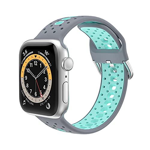 KAEGREEL Correa Deportiva Compatible con Correas de Apple Watch 44 mm 42 mm 40 mm 38 mm, muñequeras Deportivas de Silicona compatibles con Apple Watch SE/iWatch Series 6/5/4/3/2/1,38mm/40mm