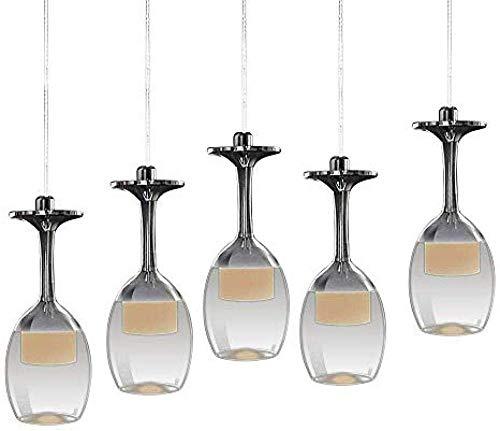 Moderne Hängelampe Glaslampe mit 5 Weinglas Pendelleuchte Acyle Glasschirm Pendellampe Hängeleuchte für esstisch Wohnzimmer Restaurant cafe (Warmweiß)-Warm_White