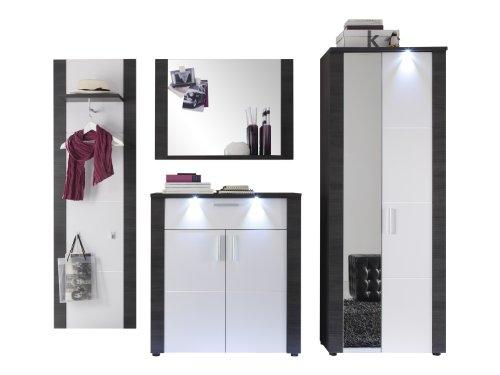 trendteam Garderobe Garderobenkombination 4-teiliges Komplett Set Xpress, 267 x 184 x 38 cm in Korpus Esche Grau Dekor, Front Weiß inkl. Beleuchtung