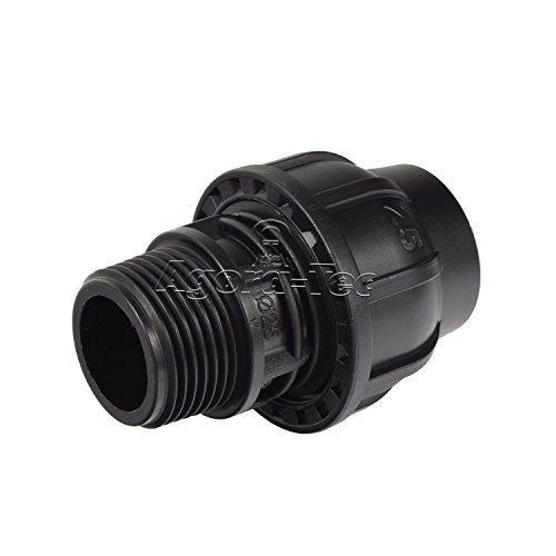 Agora-Tec PE-Fitting Kupplung 25 mm x 1 Zoll AG (33,3 mm) für PE-Rohr 25 mm SCHWARZ