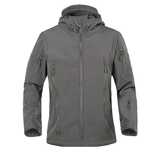 Men's Fishing Soft Shell Lurker Shark Jacket Men Outdoor Hunting Jacket Hiking Waterproof,XL,Gray