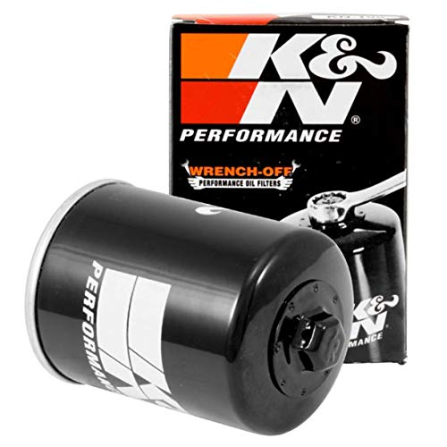 K&N Motorcycle Oil Filter: High Performance, Premium, Designed to be used with Synthetic or Conventional Oils: Fits Select Polaris Side-by-Side and ATV Models, KN-198 , black
