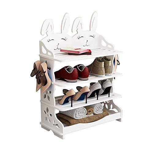 XXCHUIJU Zapato Estante Zapato gabinete de Almacenamiento Madera Blanco Pasillo Almacenamiento Simple apilable Entrada versátil Creativo Forma de Conejo Zapatos Organizador (Size : 75cm)