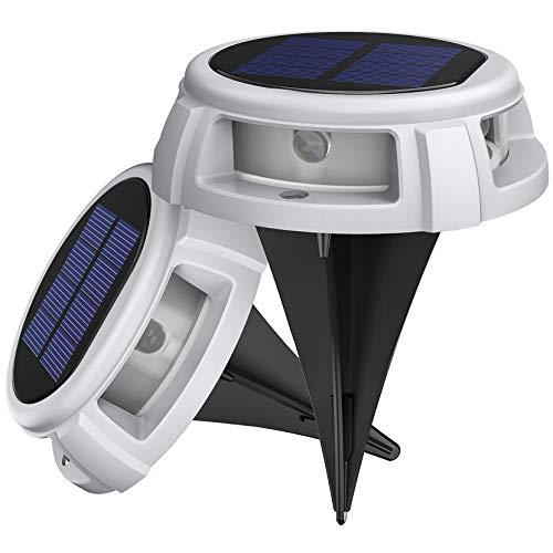 LITOM Solar Bodenleuchten Außen,4LED Bodenlampen mit 4 Beleuchtungsmodi,IP68 Wasserdicht,Automatisch Schalten,stabile dauerhafte Bodenleuchten für Aussen,Terrasse,Garten,Rasenweg,Einfahrt-Weiß-2 Stück