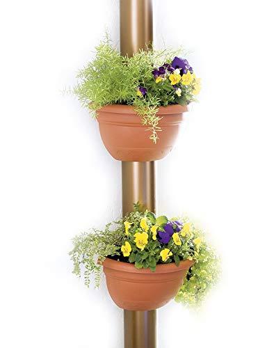 UPP Fallrohr-Blumentopf 2 Stück terrakotta passend für alle Rohre bis Ø 14cm - wetterfest - inkl. Befestigungsmaterial/Pflanzkübel/Blumentopf/Regenrohrkasten/Pflanztopf