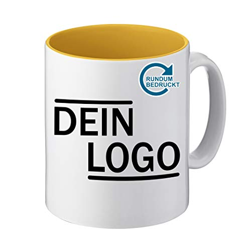 Foto Premio Werbetasse mit Logo | Kaffeetassen mit Logo Bedrucken, Tasse mit Logo in Kleiner Auflage günstig bestellen, Spülmaschinen- und Mikrowellenfest, 300ml Füllmenge (Gelb, Panorama)