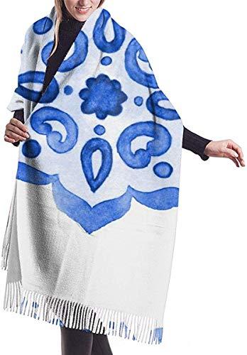 Delfts blauwe stijl aquarel tegel Amsterdam Vintage zachte kasjmier sjaal Wrap sjaals lange sjaals voor vrouwen Office Party reizen 68X196 cm