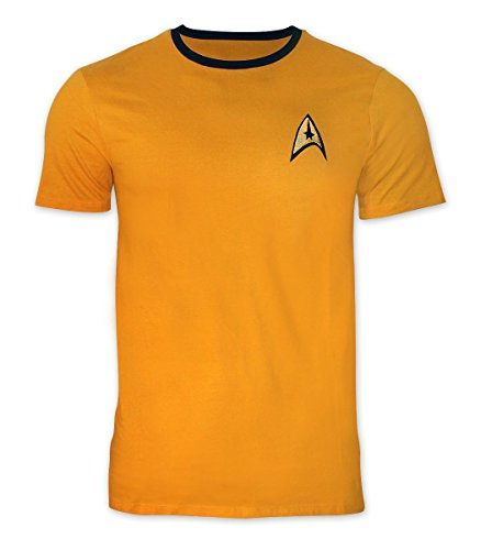 Star Trek T-Shirt Uniform - Captain Kirk mit goldfarbenem Stick, Gelb, M