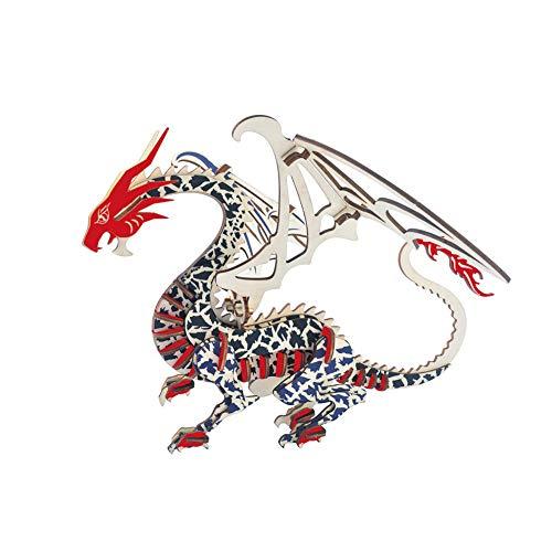 Puzzle Dragón 3D,Rompecabezas Dragón,Puzzle Dinosaurios de Madera Colorido Puzzle Modelo Animal Juego Rompecabezas Educativo Regalo para Ninos Chicos y Adultos