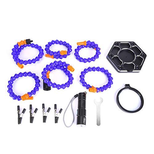 EVTSCAN - Soporte de ayuda para soldador, 6 piezas de brazos de nailon, herramienta de reparación de placa de circuito impresa con luz LED, lupa, llave de montaje, brocas para placa de circuito