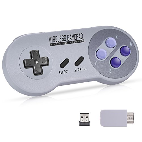 Wireless Controller for Super NES Classic / PC / Nintendo Switch, Urvoix 2.4G Rechargeable Gamapad...