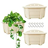 """9.84"""" Hanging Planters Railing Hanging Planters Wall Plant Flower Pots for Balcony Fence Garden Outdoor Indoor Plants 3 Wall Pots(Beige Color)"""
