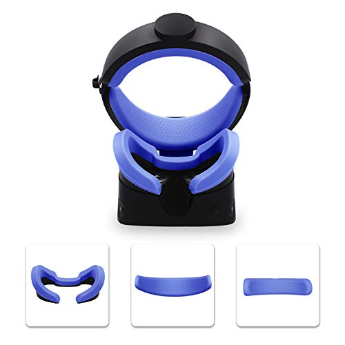 AMVR VR Mask Silicone Protective Cover & Front Foam and Rear Foam Silicone Cover Suit Set for Oculus Rift S Headset Sweatproof Waterproof Anti-Dirty Replacement Face Pads Accessories (Blue)