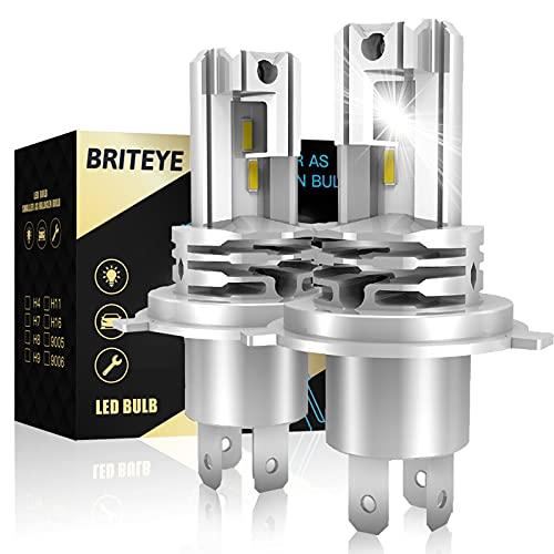 Briteye Lampadine LED H4 Moto 6500K Bianche Per 12V-24V DC Luci LED Auto Fari Abbagliante/Anabbagliante (2 Lampadina)