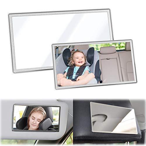 2 pezzi Specchietto per il trucco per auto Visiera parasole per auto Specchio per il trucco Specchio cosmetico Visiera per il sole Specchietto retrovisore per auto 11 * 6.5 cm 15 * 8 cm