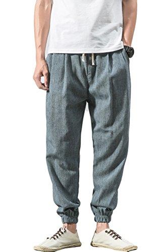 sandbank Men¡¯s Drawstring Beach Pant Summer Cotton Linen Loose Yoga Jogger Pants(Light Blue, Waistline:34¡±-35¡± US L=Asian Tag 5XL)