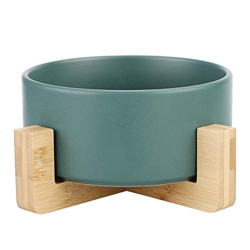 Wisolt Ceramic Cat Bowls, Ceramic Cat Bowls with Stand for Food and Water, Ceramic Bowl Pet to Protect Pet' Spine (Green)
