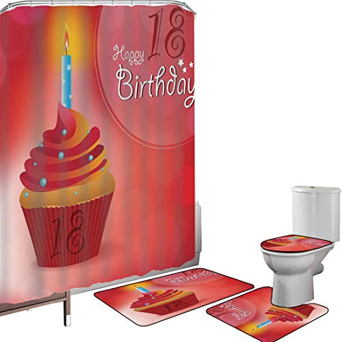 Shower Curtain Set Bathroom Accessories Carpet Set 18th Birthday Decoration Bath Mat Contour Rug Toilet Cover Sweet Eighteen Party Birthday Cupcake with Candles,Hot Pink Red and Orange Non-Slip Waterp