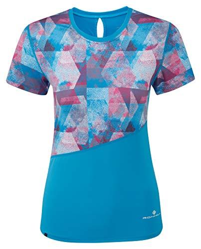 Ronhill Wmn's Stride Revive S/S T-Shirt pour Femme XL Bleu Ciel/cerisière.