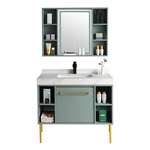 HIZLJJ Armarios con Espejo Gabinete del Lavabo del baño Mueble de Madera Moderno con gabinete con gabinete de Espejo Combinación de Lujo Luz de Lujo Montado en Pared Fregadero de cerámica Gabinete de