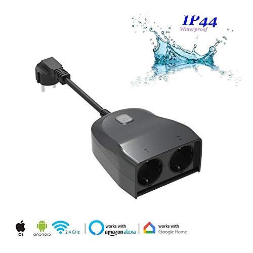 Preisvergleich Produktbild intelligenter stecker im freien,  WiFi Outlet mit 2 Steckdosen,  Kompatibel mit Alexa Google Home,  IP44 wasserdicht,  Timer-Countdown für die kabellose Fernbedienung über die Smartphone-App