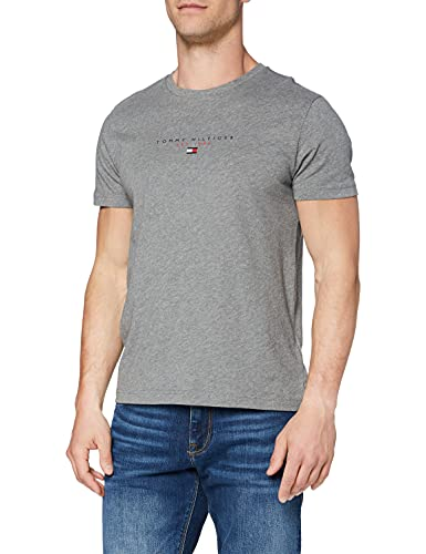 Tommy Hilfiger Essential Tommy tee Camiseta, Gris Medio, S para Hombre