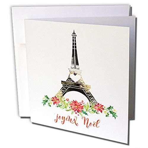 3dRose Negro y Dorado Floral Torre Eiffel con Joyeux Noel–Tarjetas de felicitación de Navidad,…