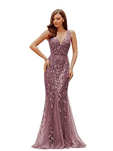 Ever-Pretty Vestidos de Fiesta Sirena sin Mangas Cuello en V Lentejuelas Tul Corte Imperio para Mujer 07886