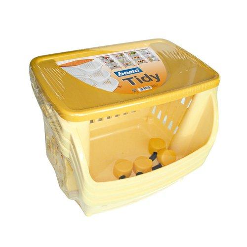 Bama Carrello da Cucina, 3 Pezzi W/Ruote e Vassoio Giallo, Taglia Unica