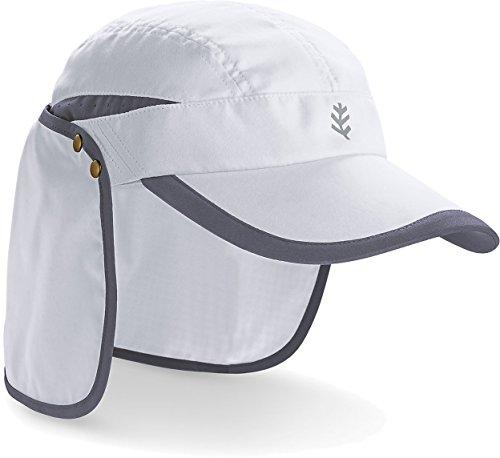 Coolibar UPF 50+ Men's Women's Sunbreaker Running Cap - Sun Protective (XX-Large- White/Carbon)