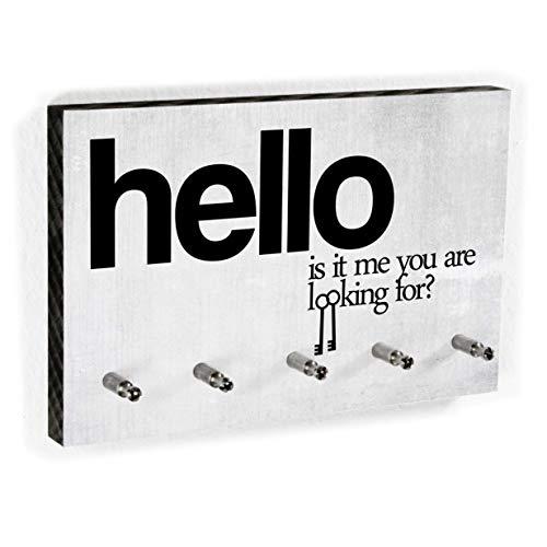 Schlüsselbrett Hello is it me you are looking for? | Lustiges Schlüsselboard - Platz für Schlüssel - 5 Haken - Handmade