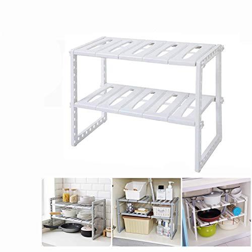 Estantería modular de 2 niveles para interior armarios y muebles organizador ajustablepara debajo del fregadero estante de almacenamiento para cocina ampliable de 38 a 68 cm(blanco)
