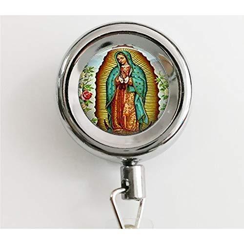 Nuestra Señora de Guadalupe llavero cadena, Virgen María llavero, arte católico religioso, carrete de insignia retráctil con soportes de identificación impermeable y llavero