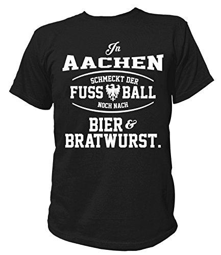 Artdiktat Herren T-Shirt - In Aachen schmeckt der Fußball noch nach Bier und Bratwurst Größe XL, schwarz