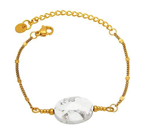 Pulsera para mujer de acero inoxidable chapado en oro con perla de piedra natural en aspecto de mármol blanco, cadena Jasseron, 2 mm de ancho, 15 – 20 cm de largo, sin níquel