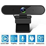 Isincer Full HD 1080P Streaming Webcam with Mikrofon für PC, Laptop, Mac, Plug-and-Play Webcam USB mit Autofokus und Weitwinkel
